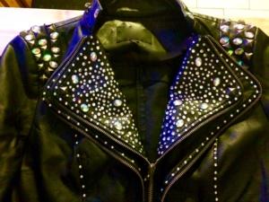 Custom rhinestoned jacket by Renee Nicole Gray