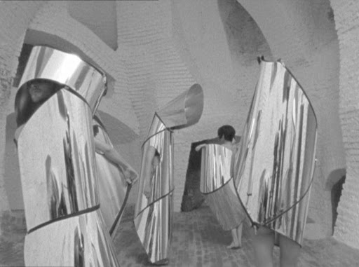 """Sculpted metal dresses by Bernard and François Baschet from the 1966  film """"Qui êtes-vous Poly-Maggoo?"""""""